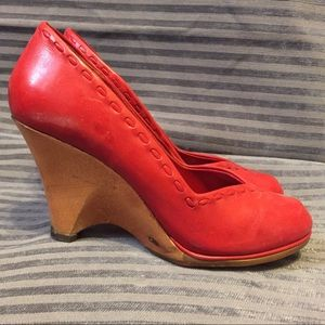 Vintage Red Leather Wedges